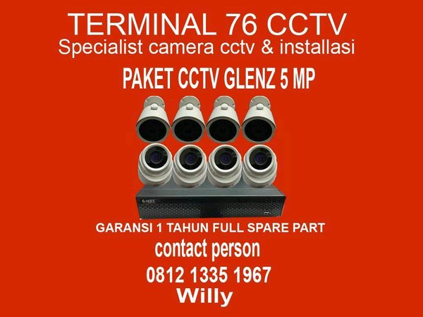 PAKET CCTV GLENZ 8 CHANNEL FULL HD KOMPLIT TINGGAL PASANG