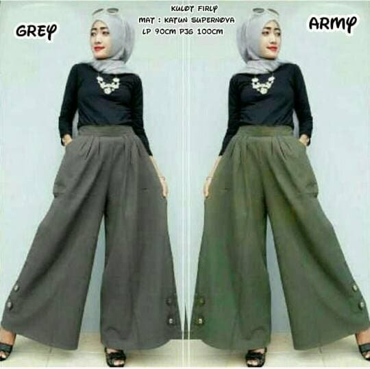 Celana Panjang Kulot Polos Fashion Wanita Muslim