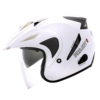 Helm MDS PROJET2 Putih White Double Visor Half Face Project 2 harga