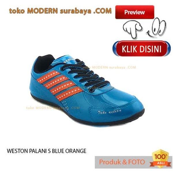 NO 37 WESTON PALANI FUTSAL S BLUE ORANGE sepatu futsal casual sneakers