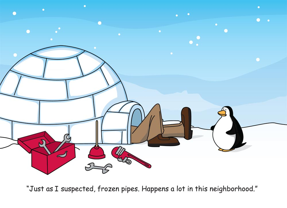 Frozen Pipes HVAC Holiday Card Heating Cooling From