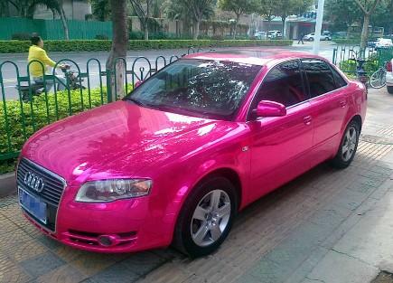 Audi A4 Gets Ostentatious Pink Chrome Wrap And Bubble Wrap