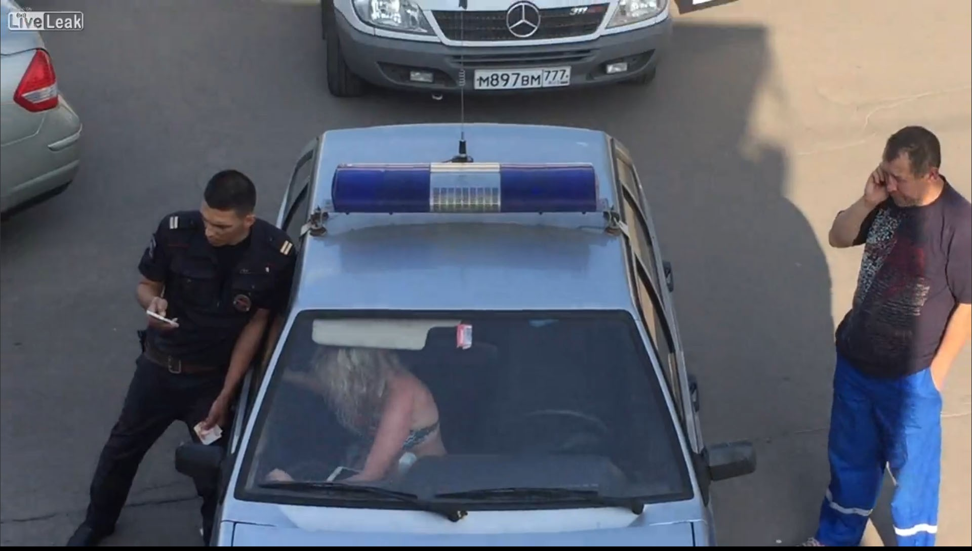 Drunk Blonde Ignores Police Officer Standing Next To Her