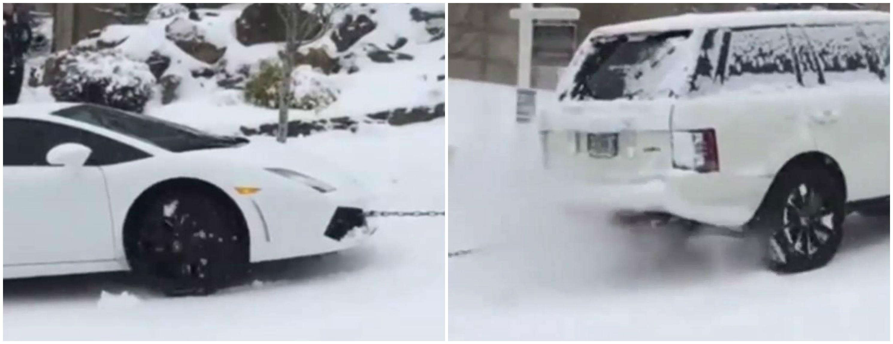 Snow Stuck Lamborghini and Range Rover Rescue Car Are a Helpless