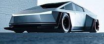 Widebody Tesla Cybertruck Has Shark Fin, Looks Like a Sci-Fi Stealth Tank