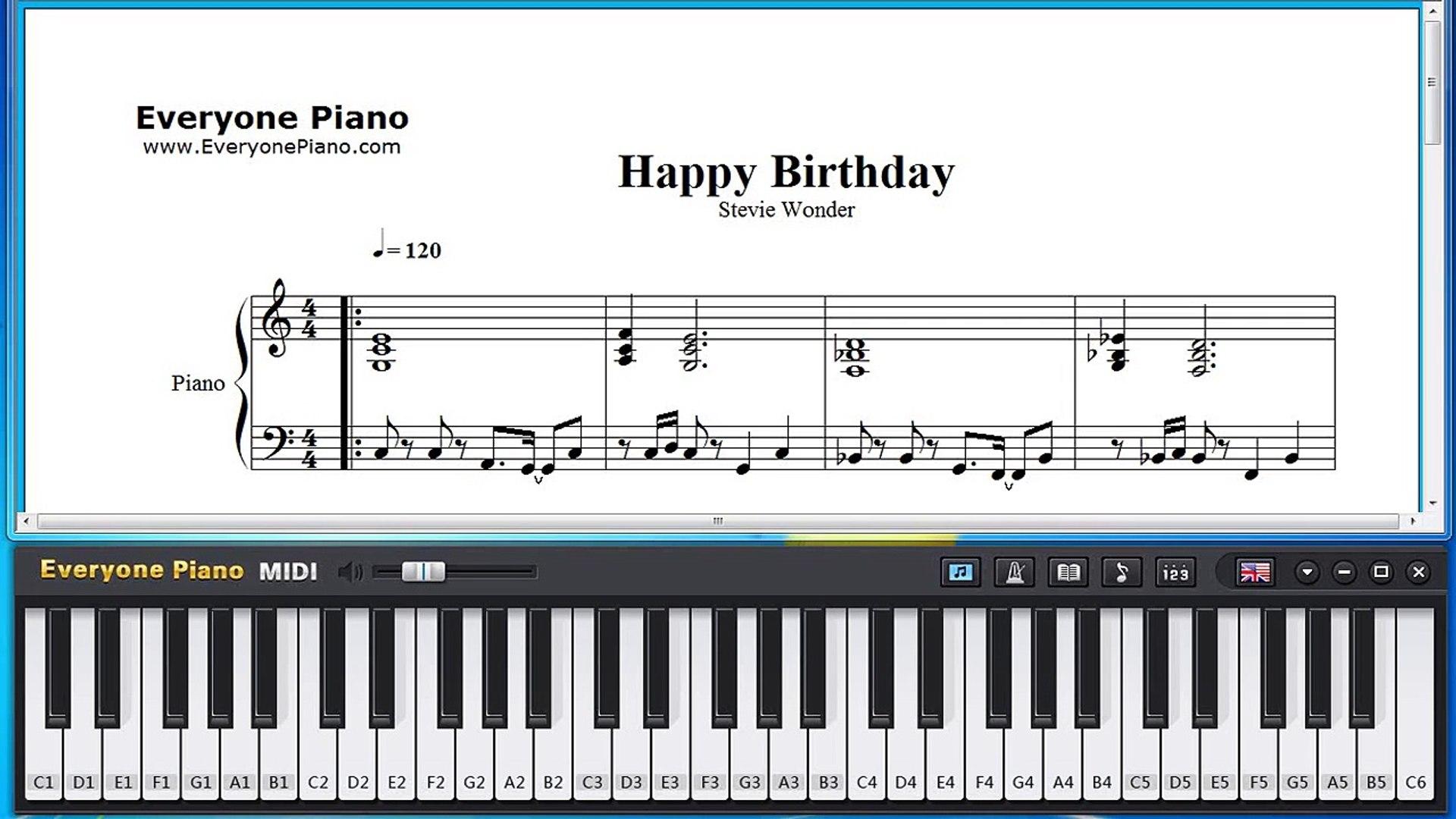 Free Happy Birthday Stevie Wonder Piano Sheet Music Tutorial Video Dailymotion