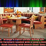 Unmatched Breakfast Nook Orange 4 Piece Corner Dining Set