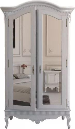 dressing stefania lemn masiv 2 usi oglinda alb 210 x 120 cm dlpstf2