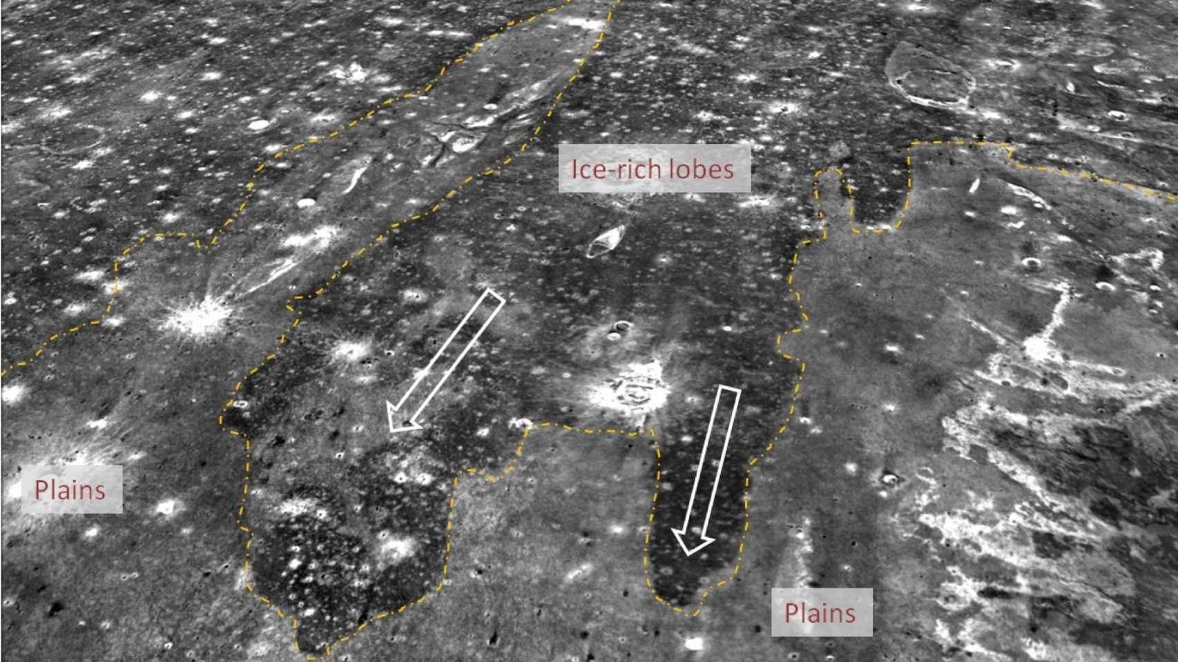 Imagen de las líneas de costa marcianas.