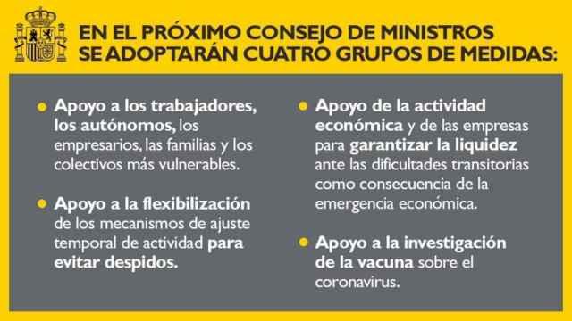 Nota de la Vicepresidència segona de Govern, anticipant les mesures que vol aprovar dimarts.