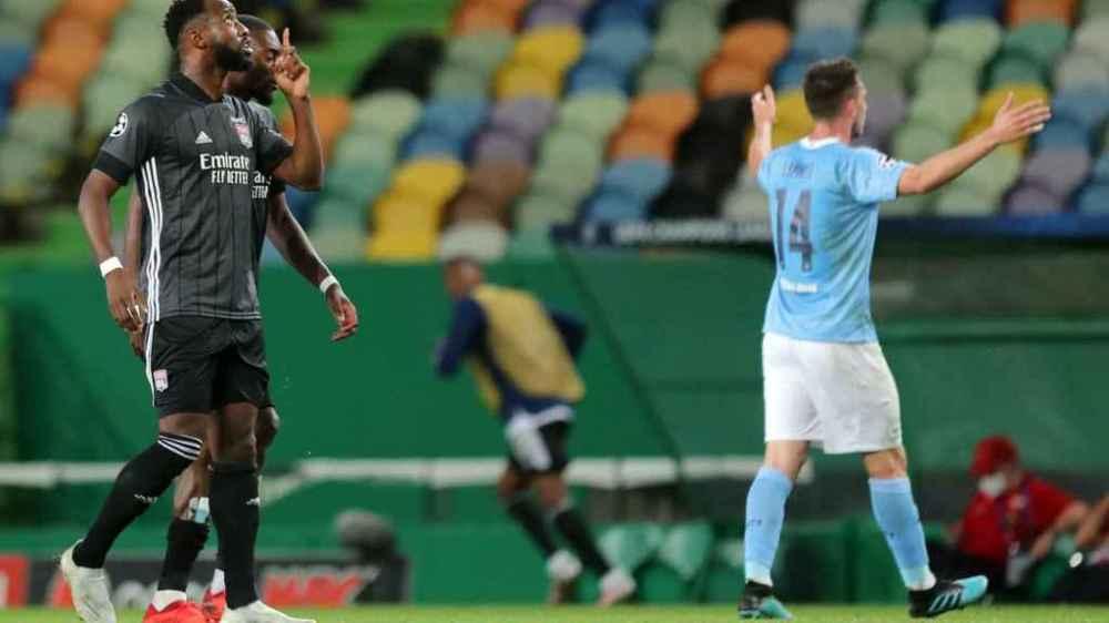 Dembélé celebra contra el Manchester City