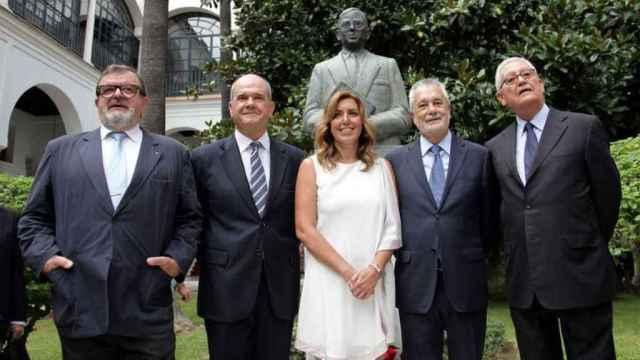 Susana Díaz en su toma posesión junto a Chaves y a Griñán.