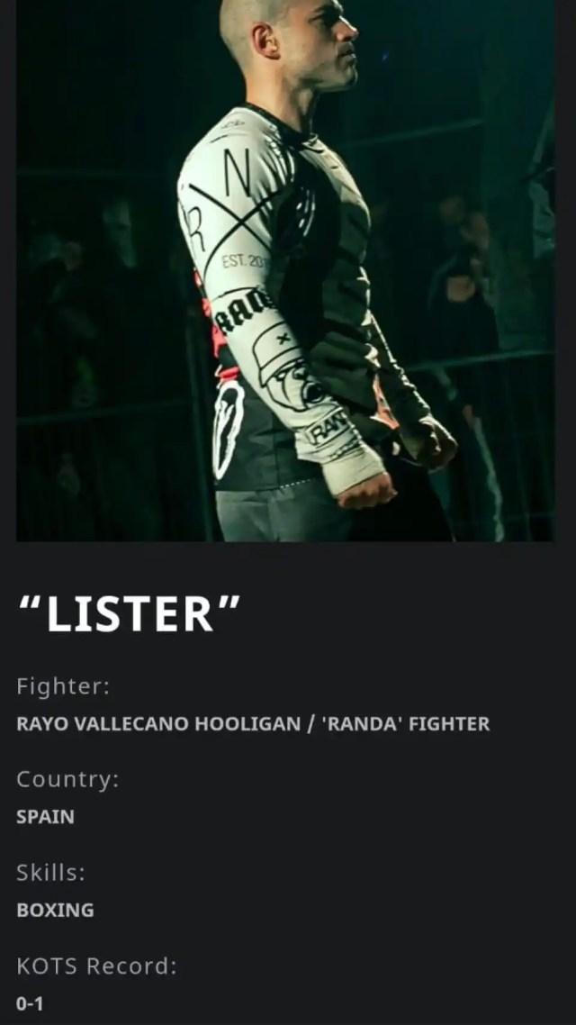 Su ficha de luchador de KOTS