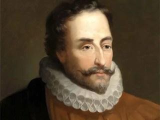 Retrato de Miguel de Cervantes Saavedra, de José Balaca, en la Academia de Bellas Artes.