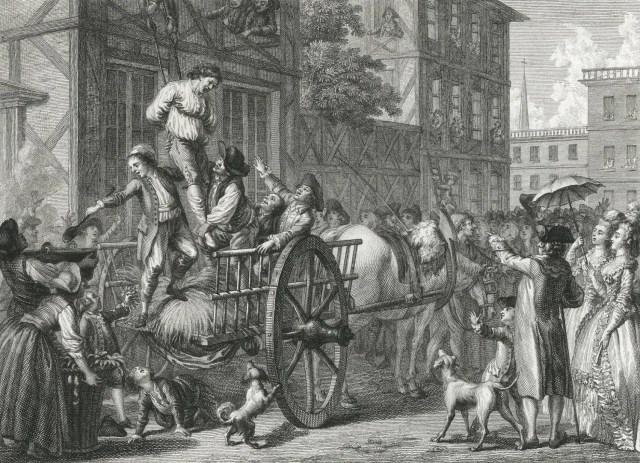 La población de Boston sacando a John Malcom de su casa y preparándose para embrearlo.