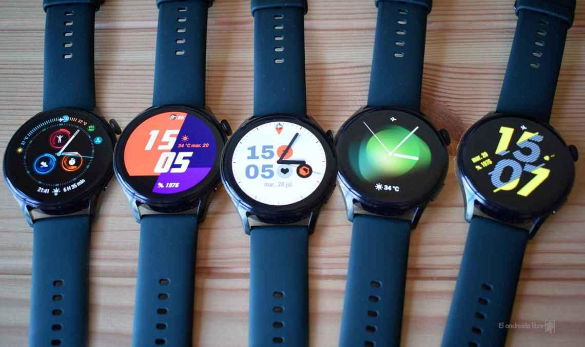 La variedad de esferas de reloj que vienen por defecto en el Huawei Watch 3