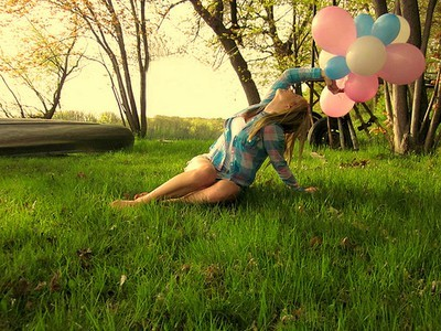 balloons, girl, happiness