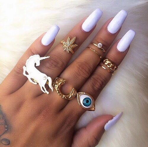 Eye Fashion Y Things Gold Jewellery Long Nails Nail Art Design Polish Ring Rings Style Unicorn Image