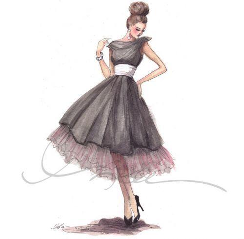 art, drawing, dress, fashion, girl