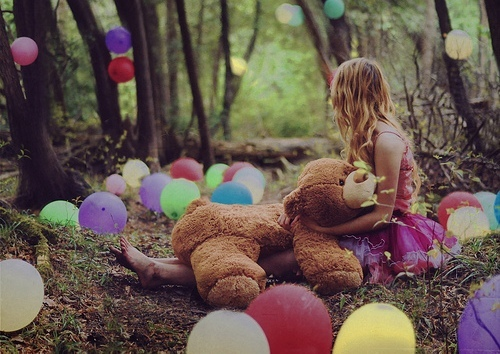 balloons, colourful, dress, forest, girl