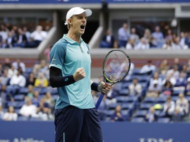 Kevin Anderson, of South Africa, reacts after scoring a point against Pablo Carreno Busta, of Spain, during the semifinals of the U.S. Open tennis tournament, Friday, Sept. 8, 2017, in New York. (AP Photo/Seth Wenig)
