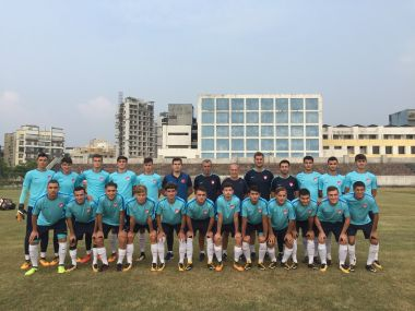 The Turkey U-17 players pose for a photograph at their training ground in Navi Mumbai
