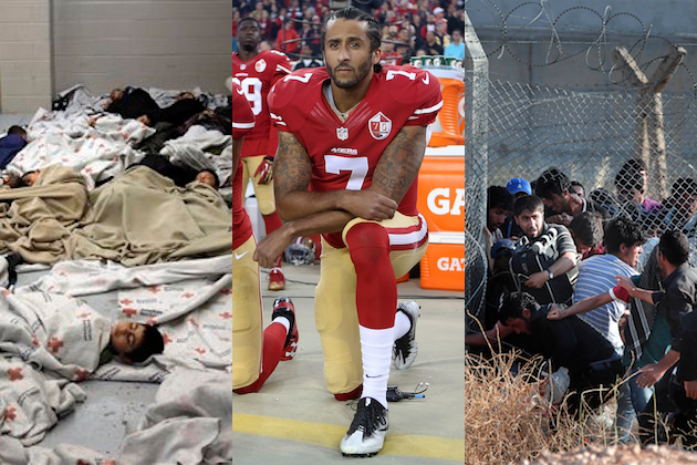 Child migrants from Central America, Colin Kaepernick kneeling during the national anthem, Syrian refugees crossing border into Turkey / All images via AP