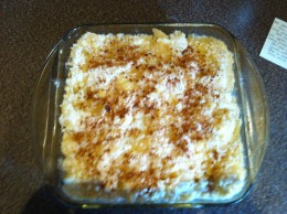 Everything together with the cinnamon on top, before baking.