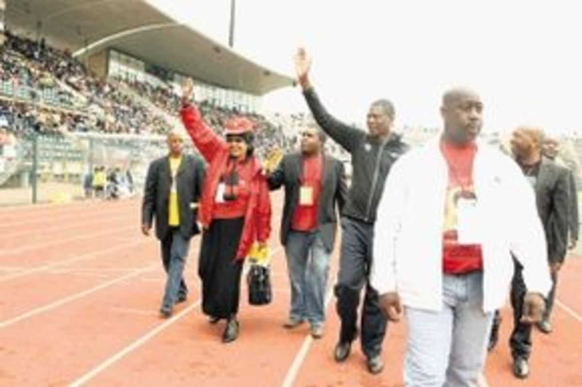 Winie says that ANC's vision is becomming blurred and tinted. Whe we have a system that supports cadre deployment and not national interest, then we have a big problem. ...seen here salutes the crowds in the stadium May  Day Rally in Atteridgeville