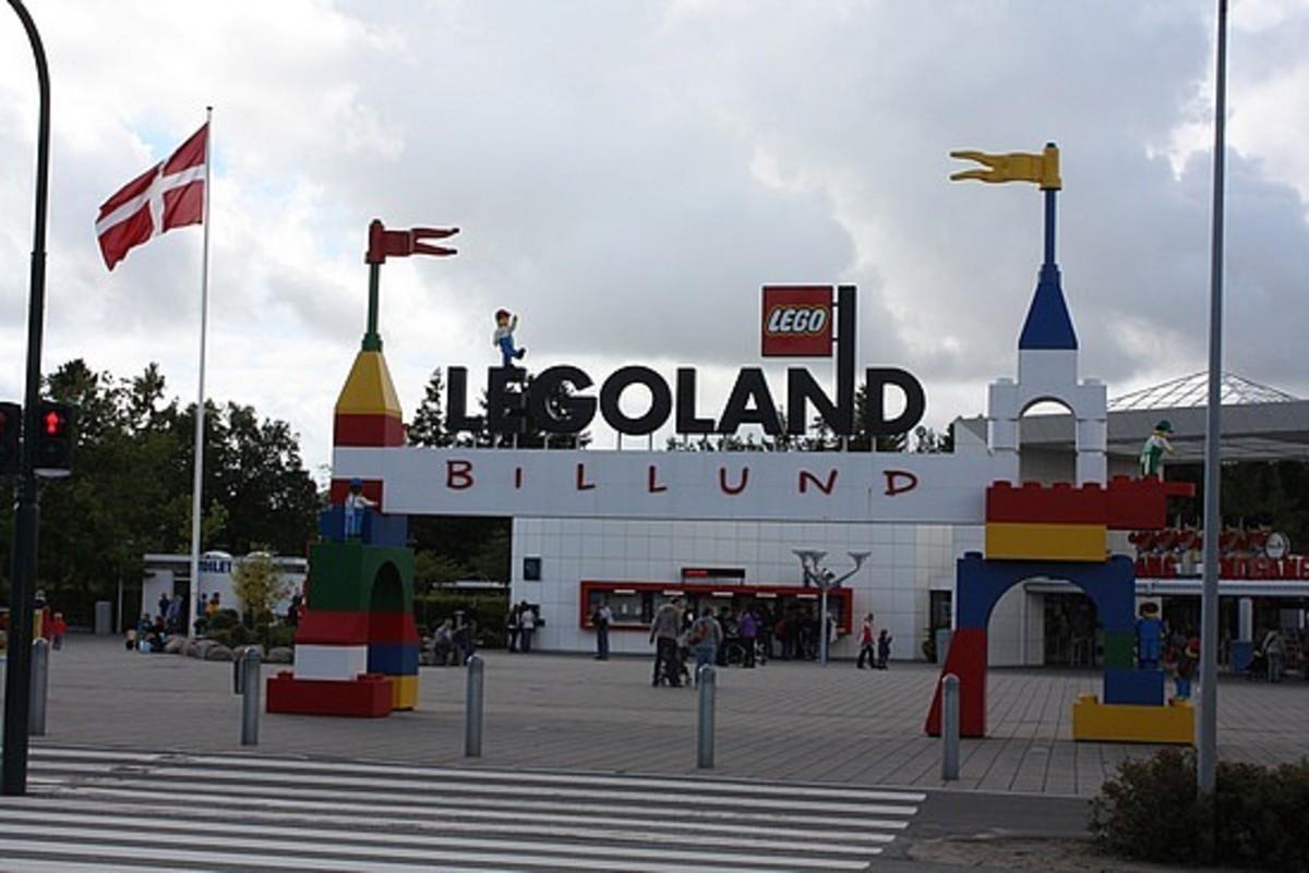 the entrance to the Billund Legoland theme park.