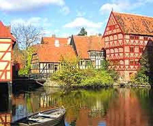 the old town of Aarhus, Denmark.