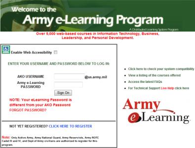 Skillport Army login screen