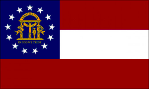 The Georgia flag has three red and white stripes and the state coat of arms on a blue field in the upper left corner. Thirteen stars surrounding the seal denotes Georgia's position as one of the original thirteen colonies. On the seal three pillars s