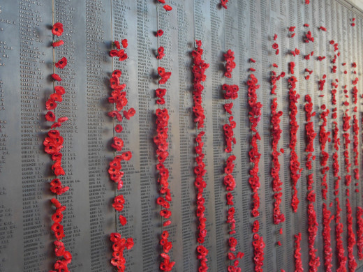The Wall of Remembrance at the Australian War Memorial in Canberra lists the names of all Australians who died in war. The Poppies are a symbol of the armistice as they began to flower at that time in the North of Belgium and France.