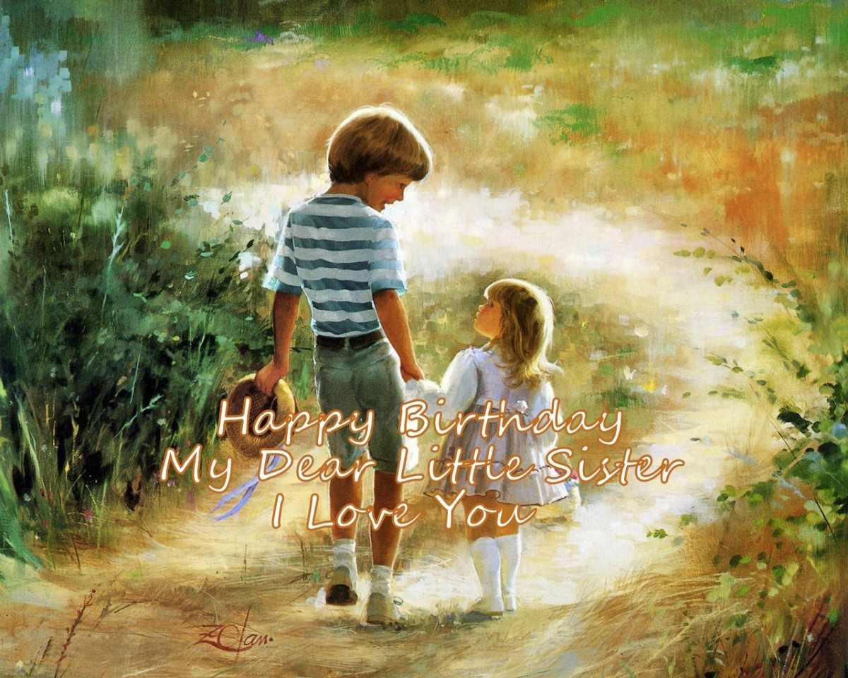 Happy Birthday Wish From Brother To Little Sister Image