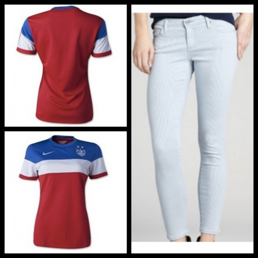 A closer look at the retro-inspired USA jersey and pinstripe washed out skinny ankle jeans. Media provided by FIFA and BlueFly.