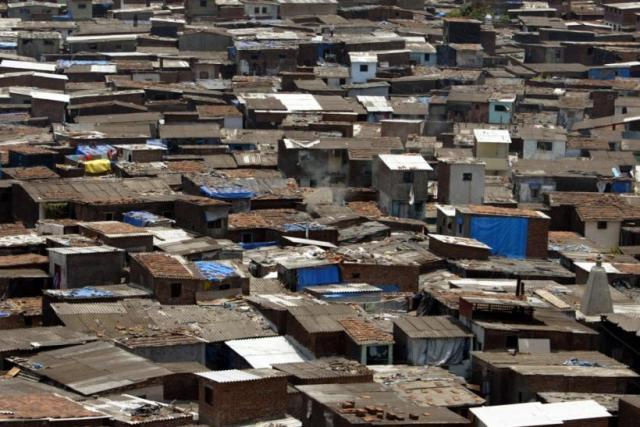 Arial photo of an endless shanty-town ghetto in a third world country