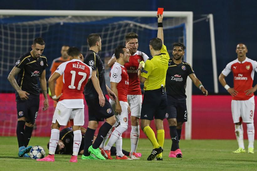 Image result for giroud sent off v zagreb