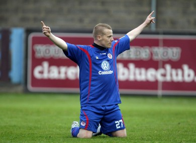 Sligo Rovers' Danny North celebrates scoring