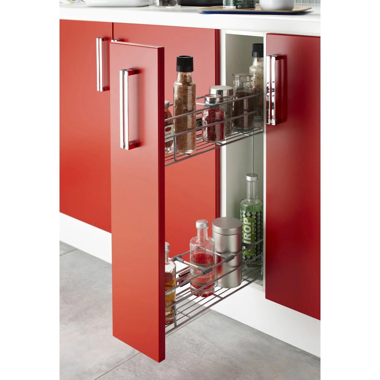 blanc laque meubles casiers de rangement easy cuisine bas 15cm avec panier inox coulissant cuisine maison ameublement et decoration
