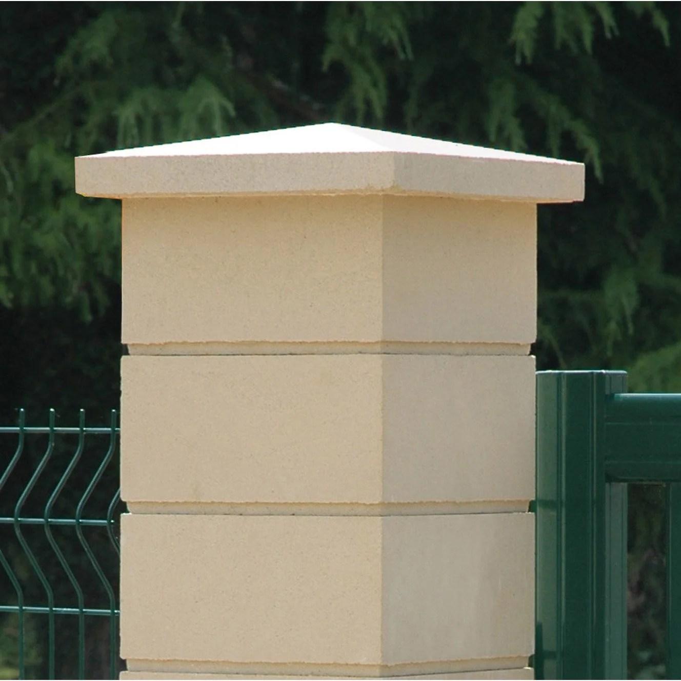 chapeau de pilier pointe de diamant 40 x 40 ocre
