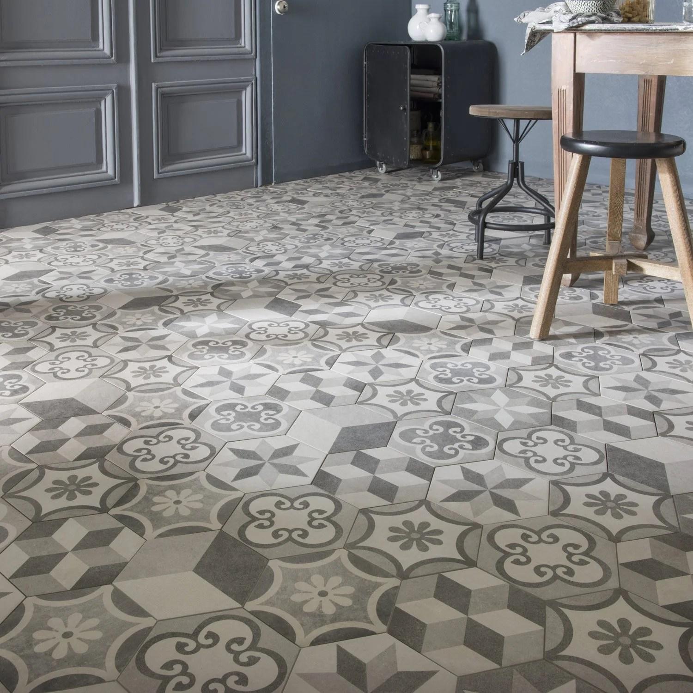 carrelage sol et mur gris blanc effet beton time l 18 2 x l 21 cm