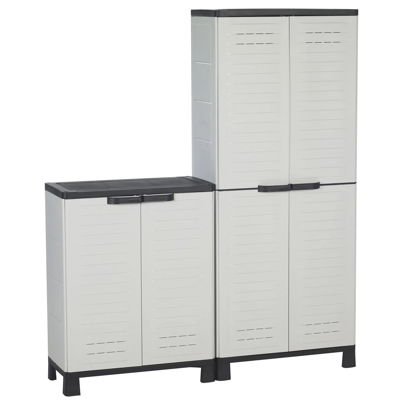 lot de 2 armoires resine haute et basse blanc allibert airspire