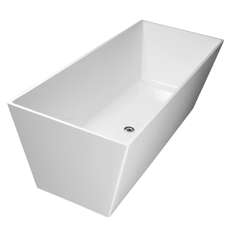 baignoire ilot rectangulaire l 159x l 65 cm blanc mat carmel