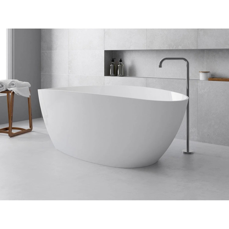baignoire ilot ovale l 157x l 71 cm blanc brillant stori