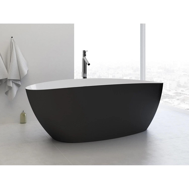 baignoire ilot ovale l 156x l 71 cm blanc et noir stori
