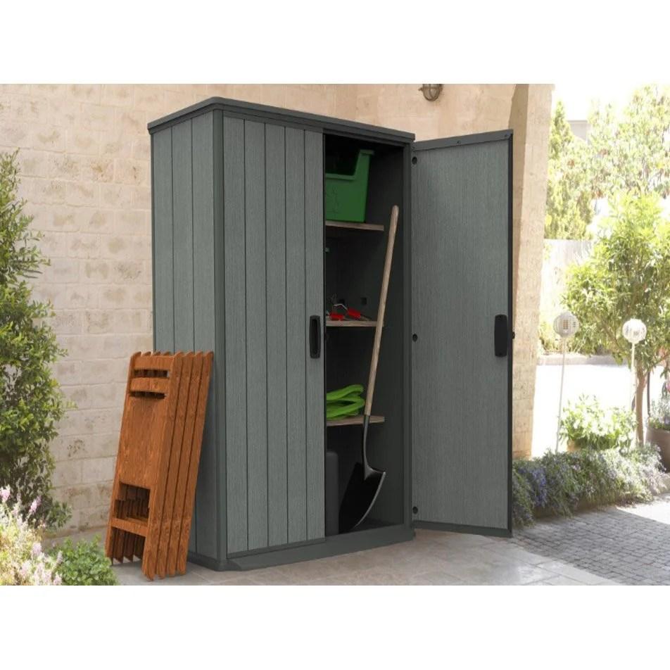 armoire de jardin resine gris l 80 5 x h 185 x p 138 cm
