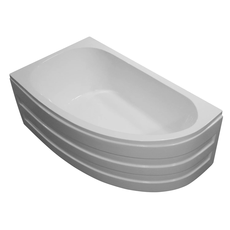 baignoire asymetrique gauche l 160x l 90 cm blanc nerea
