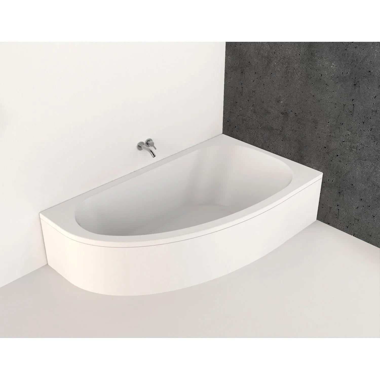 baignoire asymetrique droite l 160x l 90 cm blanc nerea
