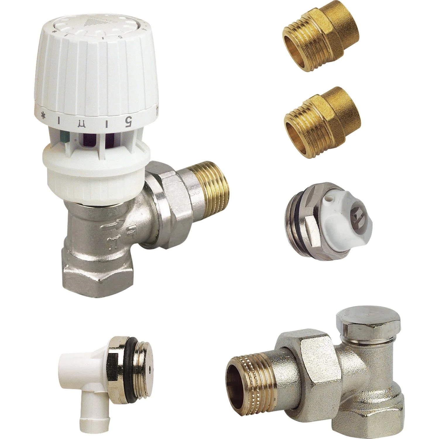 Kit Robinet Thermostatique Equerre 15 21 Male Femelle
